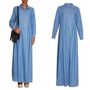 THE GREAT. Shirt Gown Denim Maxi Dress Small